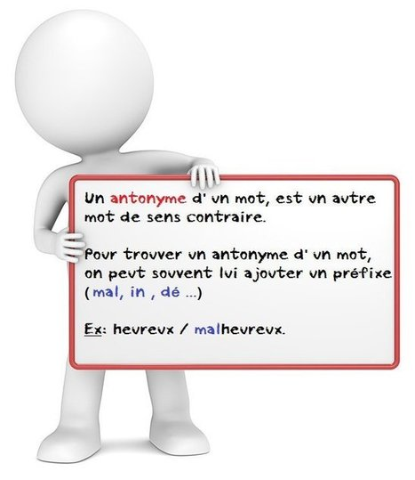 L' antonyme et le contraire d'un mot : vocabulaire - Je Révise | Français FLE, FOS | Apprentissage, Traduction et Révision | Scoop.it