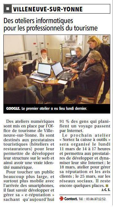 Les ateliers numériques de l'office de tourisme de Villeneuve-sur-Yonne | Animation Numérique de Territoire | Scoop.it
