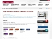 Analytics 3-Day Sprint - Summary | EDUCAUSE.edu | EDUCAUSE Analytics Sprint | Scoop.it