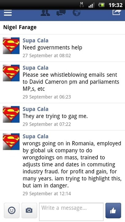 DISCLOSURE MADE TO NIGEL FORAGE MEP, TWITTER, FACEBOOK, EMAIL. | SUPACALA1, INDUSTRIAL FRAUD WHISTLE-BLOWER | Scoop.it