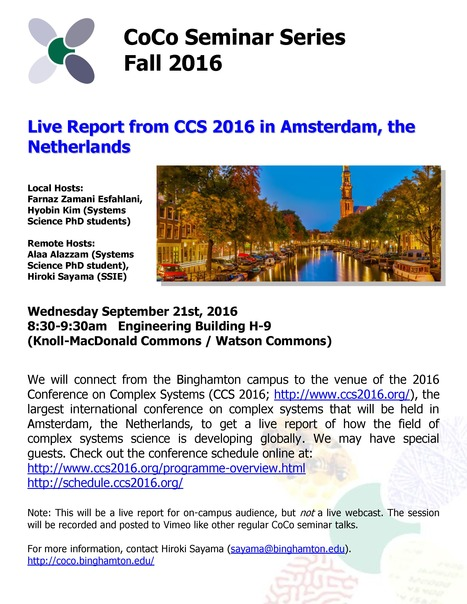 Next CoCo Seminar on Sep. 21, 2016: Live Report from CCS 2016 | Center for Collective Dynamics of Complex Systems (CoCo) | Scoop.it