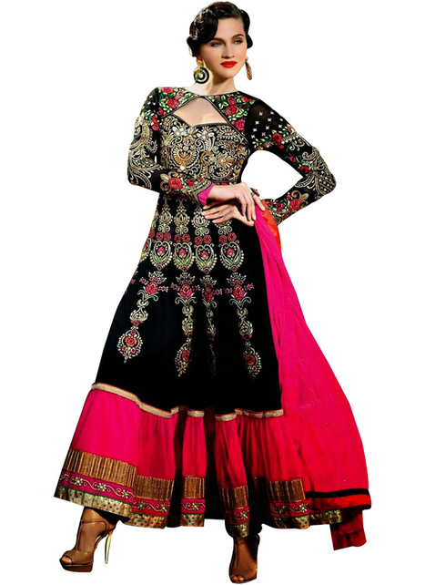 Black and pink color Anarkali Salwar Kameez 9010 | Women's Fashion & Jewellery Shopping | Scoop.it