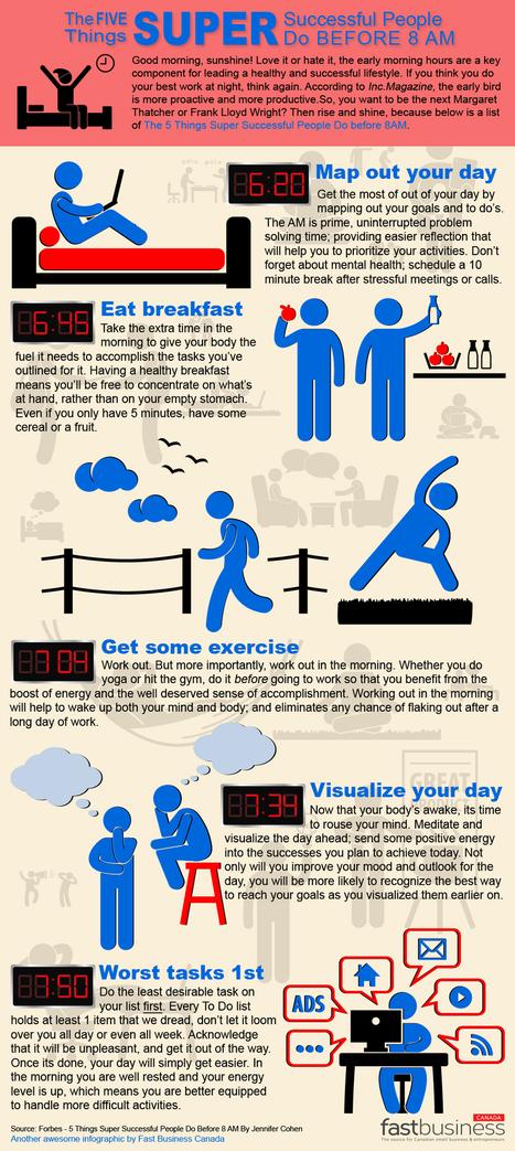5 cosas que la gente de éxito hace antes de las 8 de la mañana #infografia #infographic | Camino del Kaizen Personal | Scoop.it