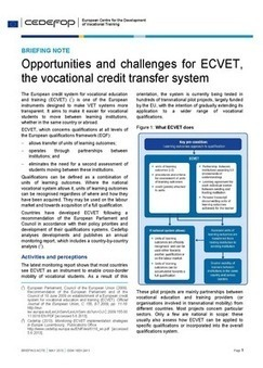 Cedefop | Publications | Briefing note - Opportunities and challenges for ECVET, the vocational credit transfer system | Ressources de la formation | Scoop.it
