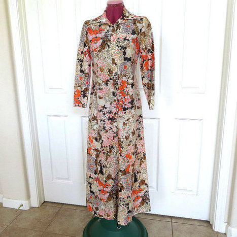 Vintage 1970s Orange, Pink, Brown and White Floral Long Sleeve Maxi Length Dress   Favorite Vintage Jewelry   Scoop.it