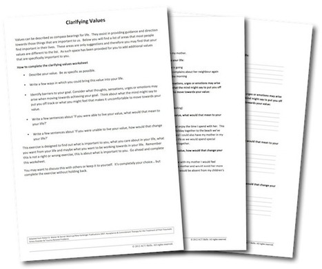 Values Clarification Worksheet - ACT Skills | Mental Health Therapy and Counseling | Scoop.it