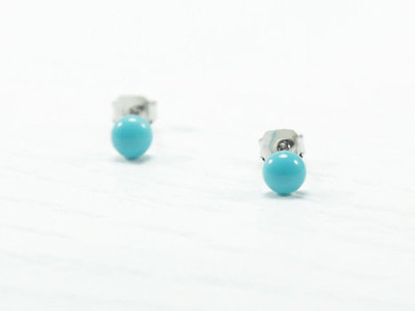 Turquoise Stud Earrings 4mm - Tiny Stud Earrings - Turquoise Earrings - Teal Earrings Studs - Hypoallergenic Surgical Steel Post Earrings | Jewelry & Accessories | Scoop.it