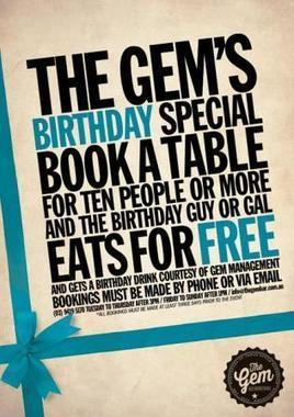 The Gem's Birthday Special at Melbourne bar | Looking for bar in melbourne? | Scoop.it