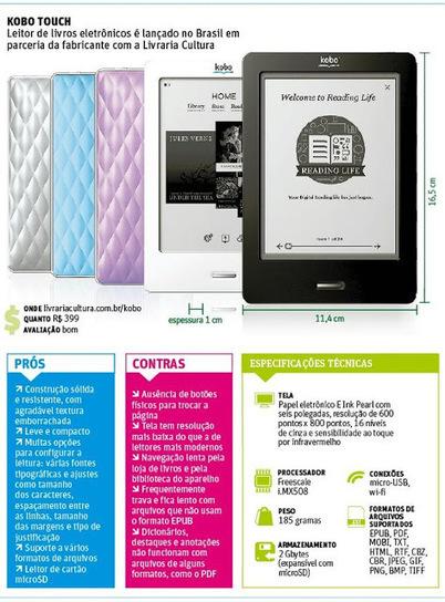 Pesquisa Mundi: Rival do Amazon Kindle, Kobo Touch é boa opção para ler e-books brasileiros | Litteris | Scoop.it