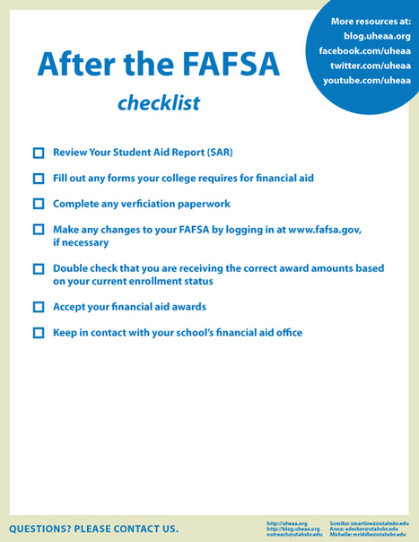 2013-14 FAFSA: After the FAFSA Checklist | College and Careers | Scoop.it