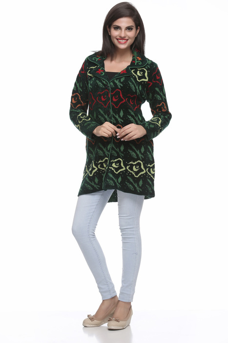 Green Knit And Embroidery Coat | Women Winter Clothes | Scoop.it