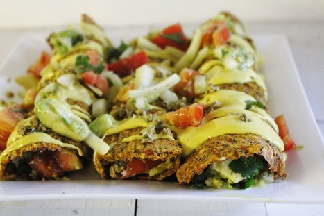 Raw Vegan Enchiladas with Chunky Salsa, Cheesy Sauce, and Spicy Nut Meat | My Vegan recipes | Scoop.it