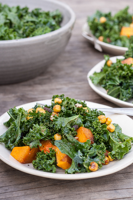 Butternut & Kale Salad with Maple Roasted Chickpea Croutons | Healthy Whole Foods | Scoop.it