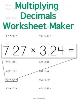 Multiplying Decimals Worksheet Maker - Horizontal Format | Math Worksheets and Flash Cards | Scoop.it