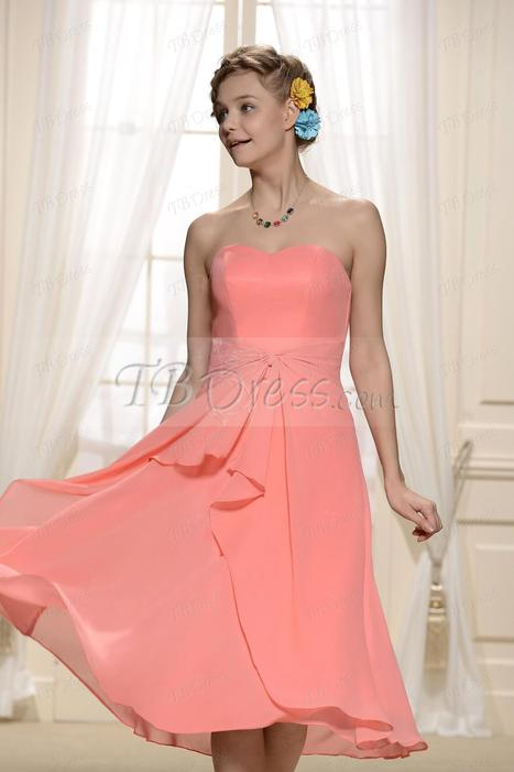 $ 74.09 Charming Tiered Pleats Sweetheart Neckline Tea-Length Bridesmaid Dresses   lovely   Scoop.it