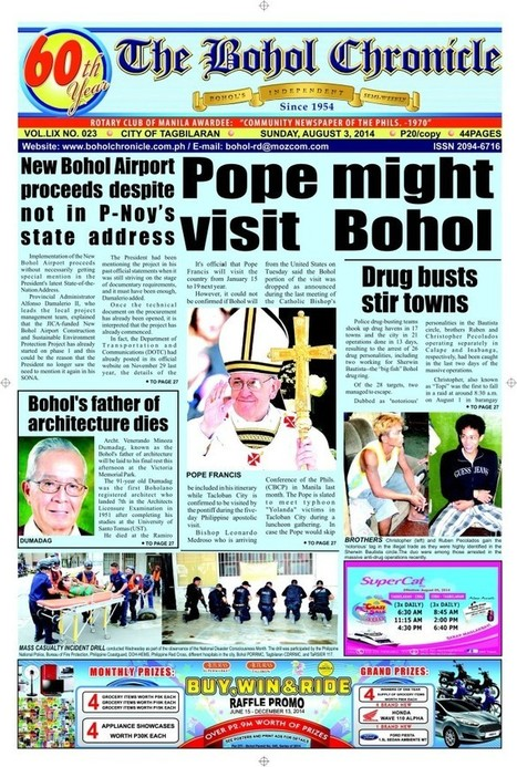 Pope Might Visit Bohol | The Bohol Chronicle Digital Archive | Anda Bohol | Scoop.it
