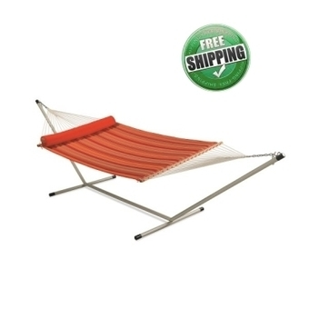 RED STRIPED QUILTED HAMMOCK WITH HAMMOCK STAND & PILLOW | Hammocks in India | Scoop.it
