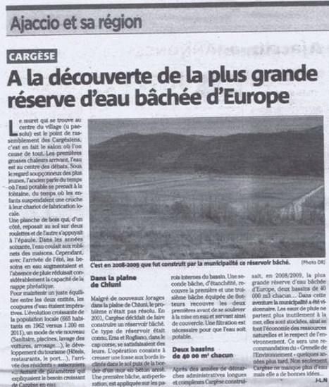 La réserve d'eau bâchée de Cargèse | Revue de Presse de Cargèse | Scoop.it