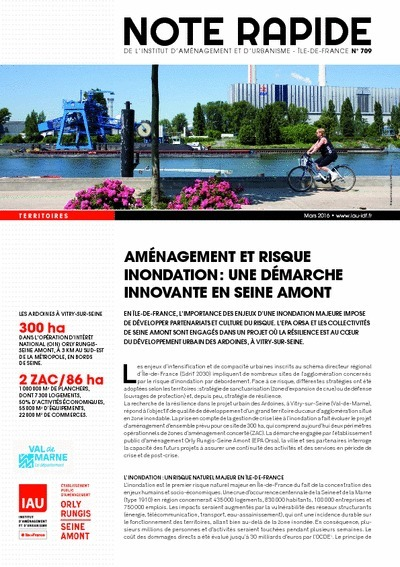 Aménagement et risque inondation : une démarche innovante en Seine Amont, note rapide Territoires, IAU îdF, mars 2016   Ambiances, Architectures, Urbanités   Scoop.it