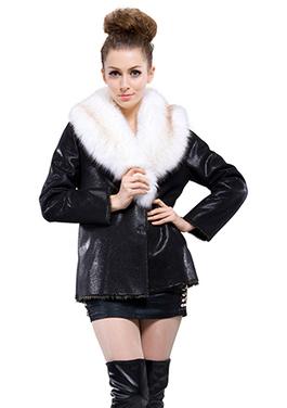 Black snake grain suede with faux white fox fur collar middle suede coat | Comfortable faux fur coat fashion | Scoop.it