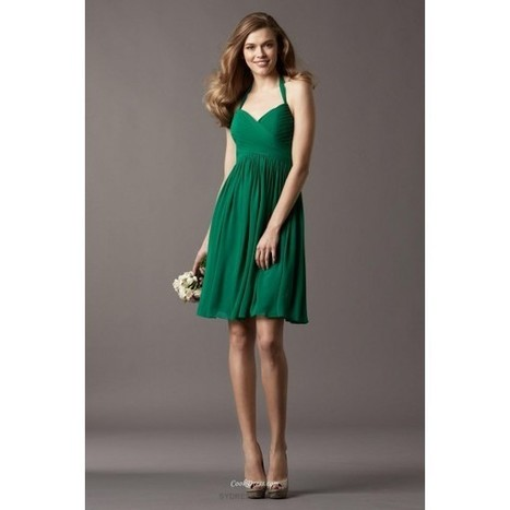 Emerald Green Halter Neck Draped Chiffon Short Bridesmaid Dress   dressmebridal   Scoop.it