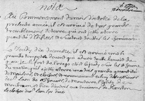 Tremblements de terre dans le Poitou mentionnés dans les registres paroissiaux. | Rhit Genealogie | Scoop.it