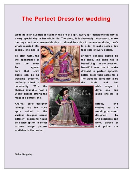 The Perfect Dress for wedding | edocr | Indian Wediing Dresses | Scoop.it