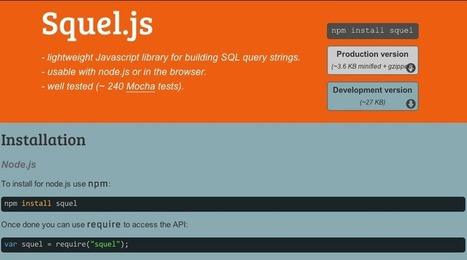 Node.js SQL query string builder: squel   web development   Scoop.it