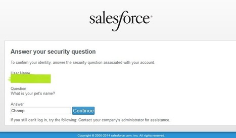 Obscure Secret Answer for Password Resets   salesforce   Scoop.it