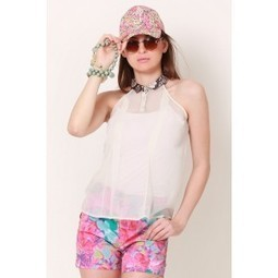 White Halter Beauty Sheer Top   Online shopping for women   Scoop.it