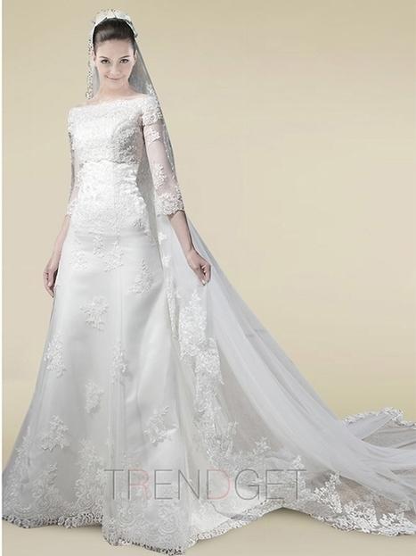 2013 Modest A-line Off-the-shoulder Floor-length Wedding Dresses $200.99 - Trendsget.com   Wedding   Scoop.it