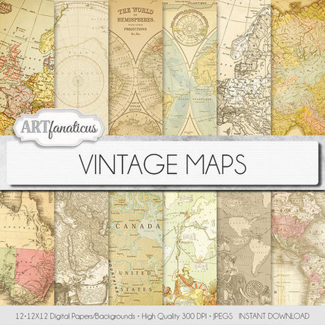 "Vintage maps digital paper, ""VINTAGE MAPS"" backgrounds,antique maps, old world, globe, America, Europe, Asia, Australia, maps, scrapbooking 