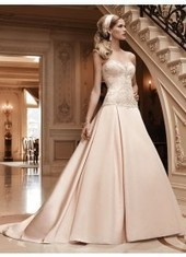 A Line Sweetheart Brush Train Satin Champagne Wedding Dress H1cl0144 for $1,157 | beautyful | Scoop.it
