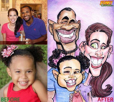 Our latest caricature Color Family Caricature | Custom Caricatures | Scoop.it