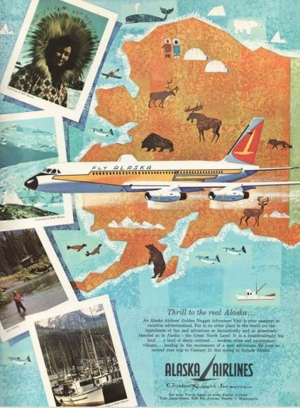Vintage Alaska Airlines Ad | Alaska: Romanticizing the Last Frontier | Scoop.it