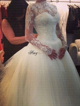 Cheap Long Sleeves Court Train High Neck Wedding Dresses Sale at Amydress.co.uk | amydress | Scoop.it