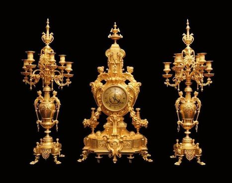 Ferdinand Barbedienne - Antique French Gold Plated Bronze Clock, Louis XVI Model with Matching Candelabra - 1850s | English Faction Year 10 | Scoop.it