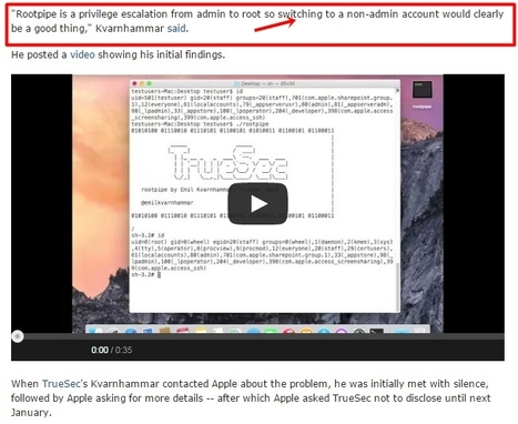 Serious security flaw in OS X Yosemite 'Rootpipe' | Cyber Security | Apple, Mac, MacOS, iOS4, iPad, iPhone and (in)security... | Scoop.it