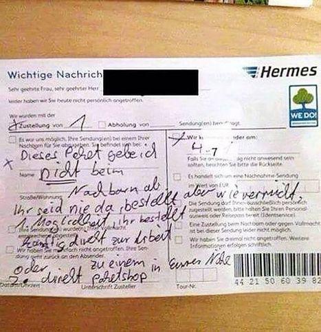 Netzfund: War der Hochsommer schuld? Wenn dem Hermes-Zusteller der Geduldsfaden reißt | E-Commerce DACH | Scoop.it