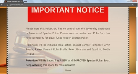 Spartan Poker Primary Website Displays a Cautionary Notice; Site Shifted to New URL - Online Poker News | rejdeep7830 | Scoop.it
