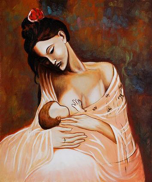 Maternity (Artist Interpretation) Oil Painting by Pablo Picasso | Oil paintings Gallery | Scoop.it