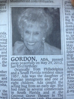 RIP: Ada Gordon -- my first agent passed away on her 93rd birthday. What a life! | The Billy Pulpit | Scoop.it