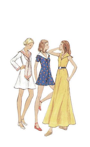 Butterick Retro Vintage Sewing Pattern Maxi Mini Dress Sailor Collar A-line Long Sleeve Butterick 6705 Uncut Bust 32 | Vintage Sewing Patterns | Scoop.it