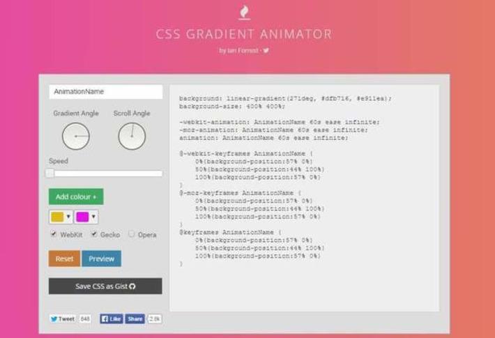Un générateur de fonds dégradés en CSS, CSS Gradient Animator | Solutions locales | Scoop.it