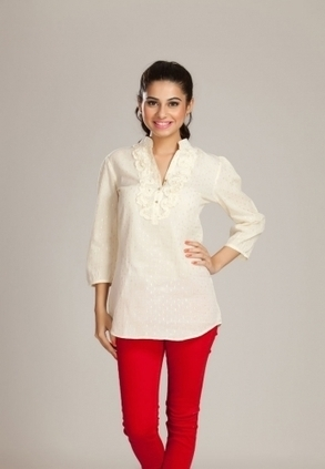 Find Best Discount Deals With Low Price On Designer Shirt For Womens, Buy White Gold Ruffled Shirt Only Rs-1399 At Best Online Designer Store For Womens In India, Find Widest Range Of Designer Shir... | Buy  Women Shirts‎ on itibeyou.com | Scoop.it