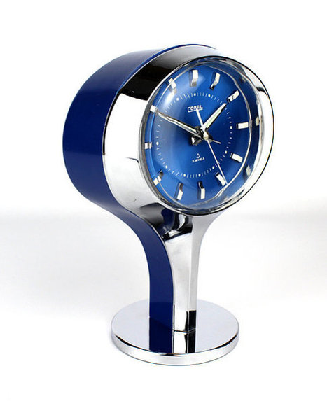 Vintage Retro 1970's Japanese Coral Blue and Chrome Pedestal Clock | Our Stock | Scoop.it