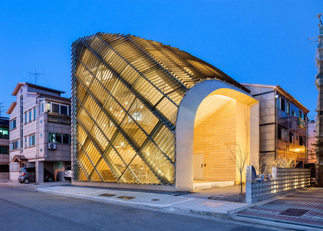 Aluminium louvres cover curving walls of house and cafe in South Korea by AND | retail and design | Scoop.it