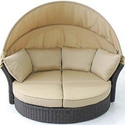Creative Living Antigua All Weather Outdoor Mahogany Wicker Daybed Love Seat | Furniture Shoppy | Best Patio Furniture Sets | Scoop.it
