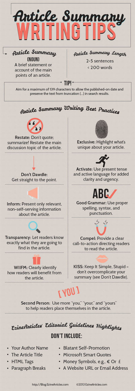 Summary Writing Hints and Tips That Get Great Results | Teacher Tools and Tips | Scoop.it