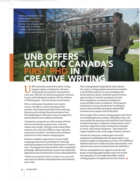UNB Offers Atlantic Canada's First PhD in Creative Writing | Frond and Spore | Canadian literature | Scoop.it